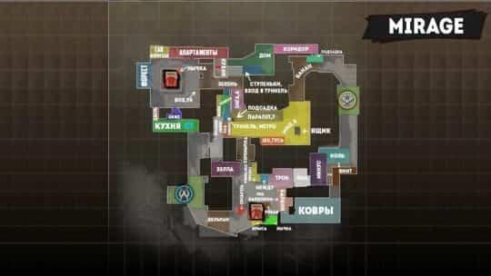 Обозначения на карте Mirage на русском